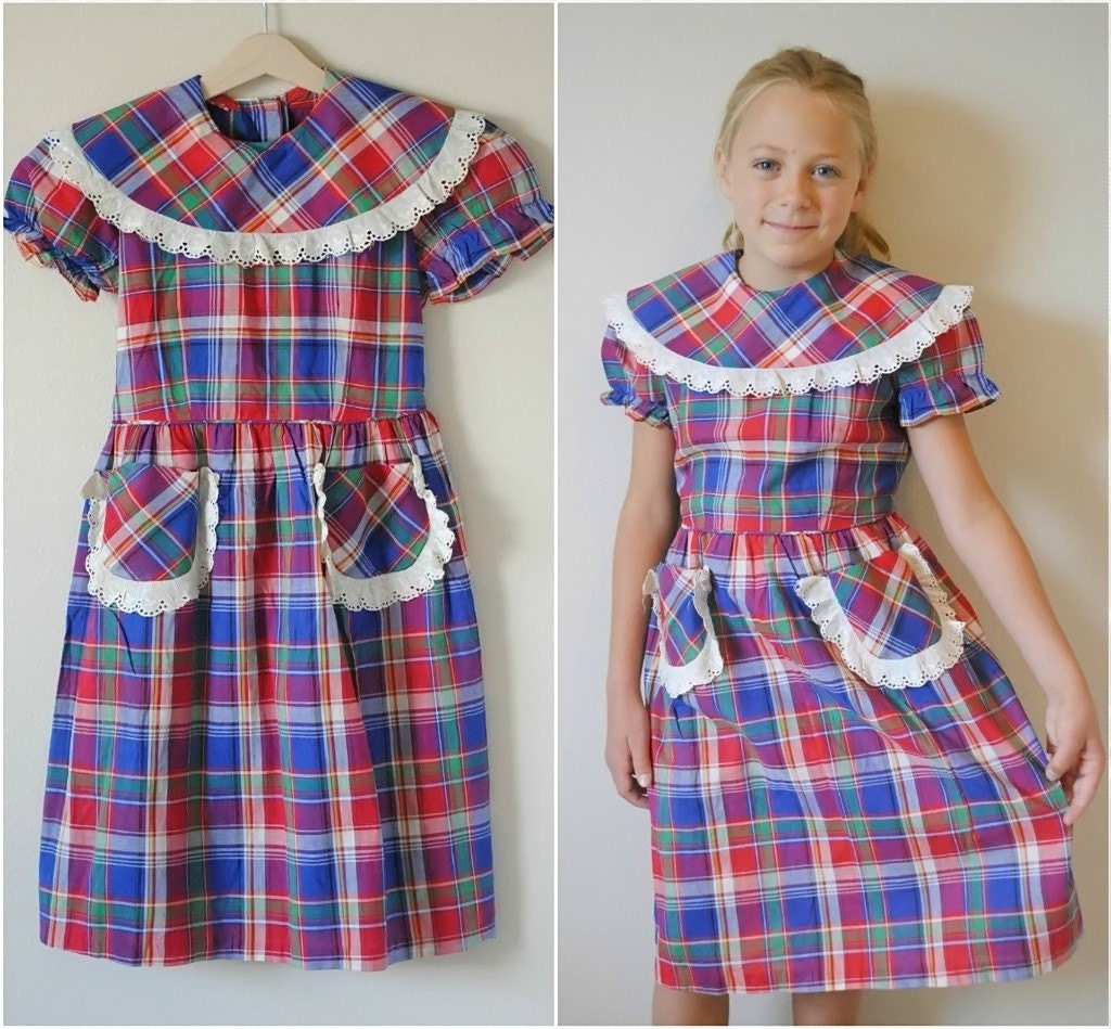 Vintage girl 1940 s dress plaid round collar size by hartandsew