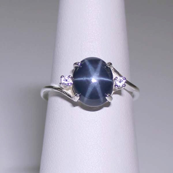 3 0 ct genuine blue star sapphire sterling silver by. Black Bedroom Furniture Sets. Home Design Ideas