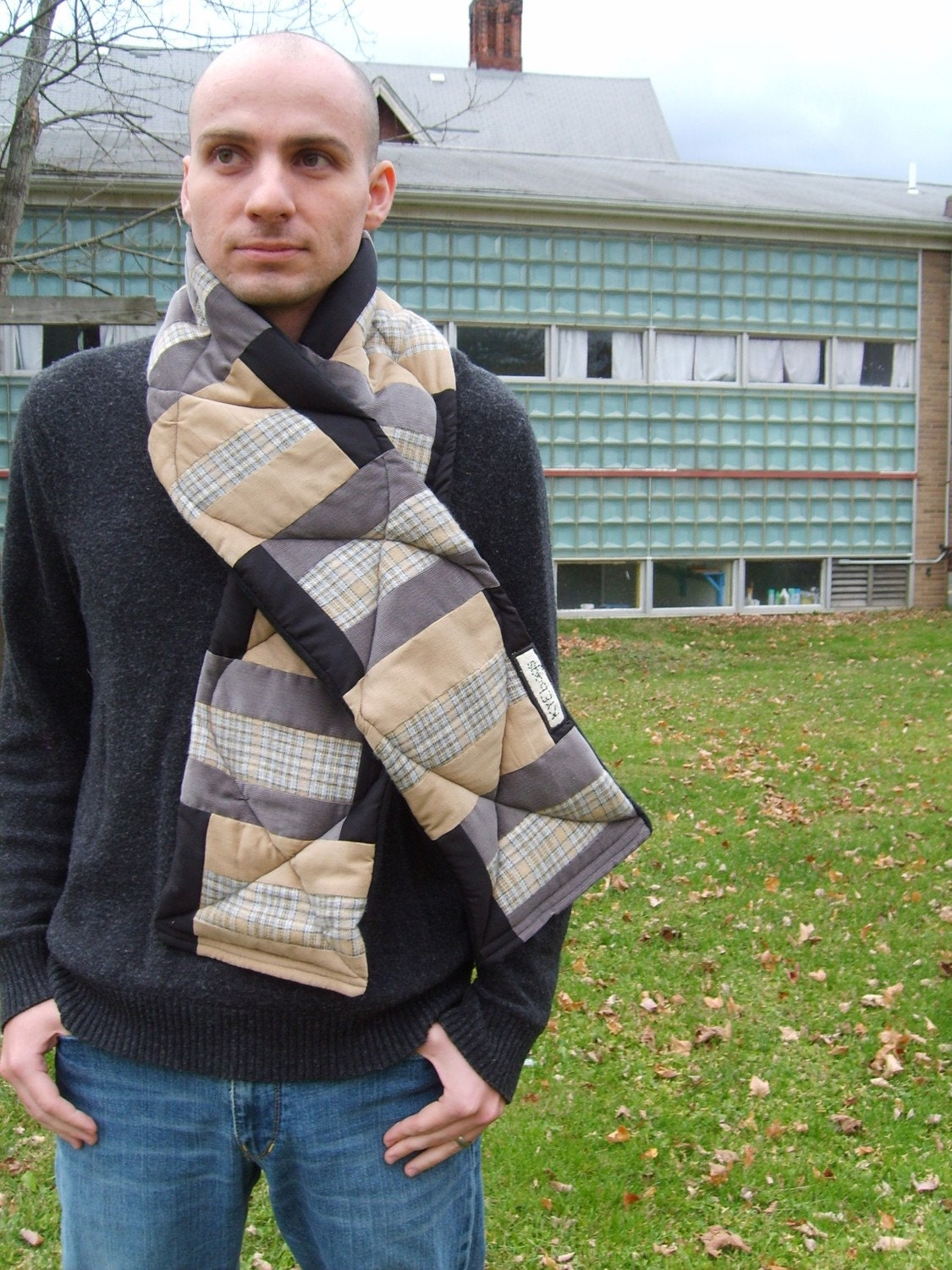 Quilted Patchwork Men's Scarf with Black Fleece Lining