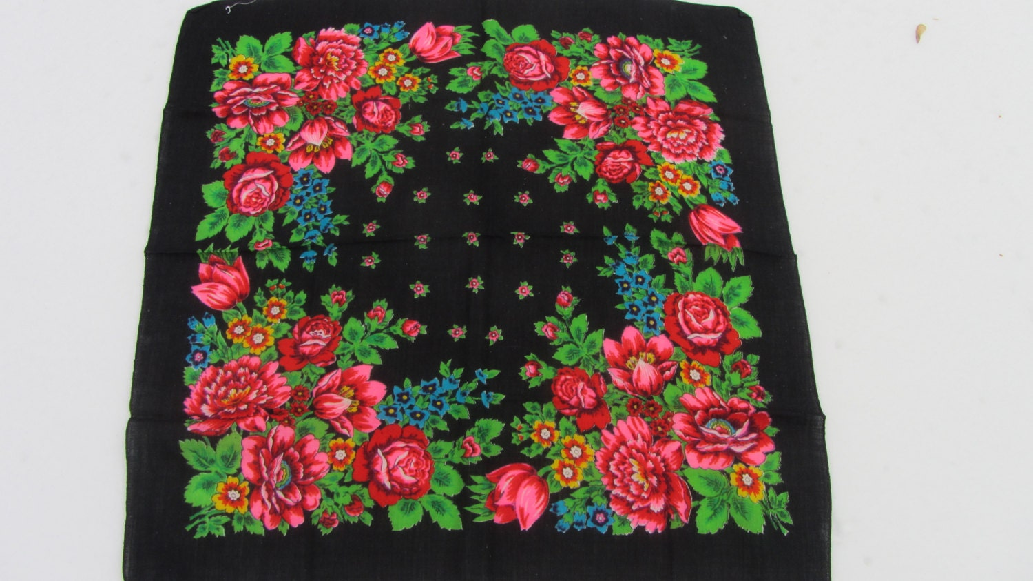 Pure Wool Black Vintage Ukrainian Floral Scarf, Russian Floral Scarf, black shaw