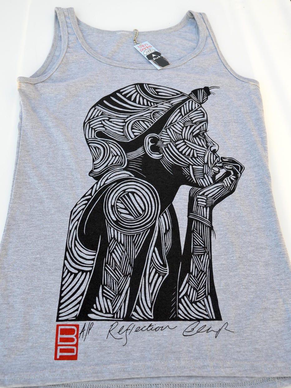 Reflection Woodcut Tank Top Ladies Grey Printed Tank Art Print Vest
