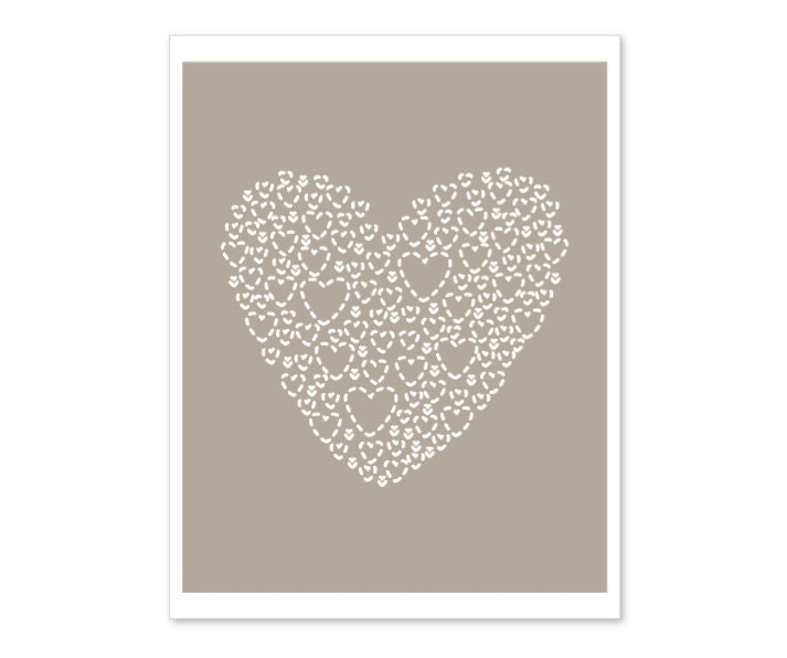 Love Heart - Wall Art Print - Taupe Brown - Autumn Fall Colors - AldariArt