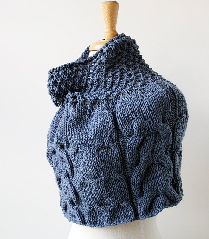 Women's Fashion - Elegant Hand-Knit Multi Cable Capelet in Merino Wool - Grey Color - ElenaRosenberg
