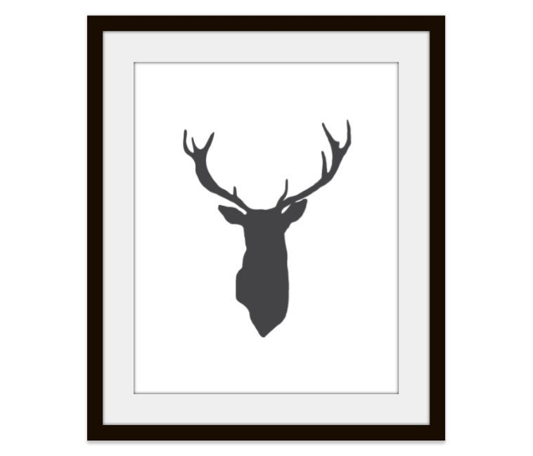 Deer Antlers Print Woodland Home Decor Rustic Wall Art - AldariArt