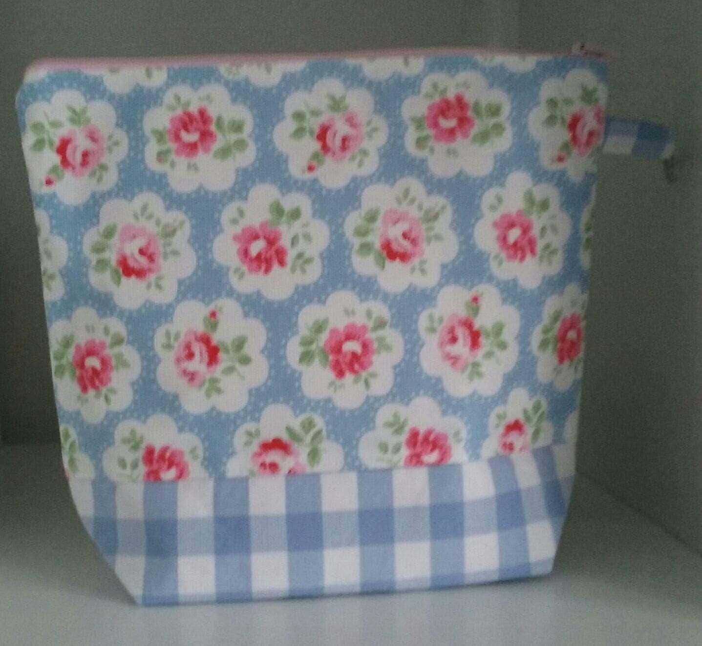 Cath Kidston Provence Rose cotton duck project bag perfect for sock knitting or similar small projects.