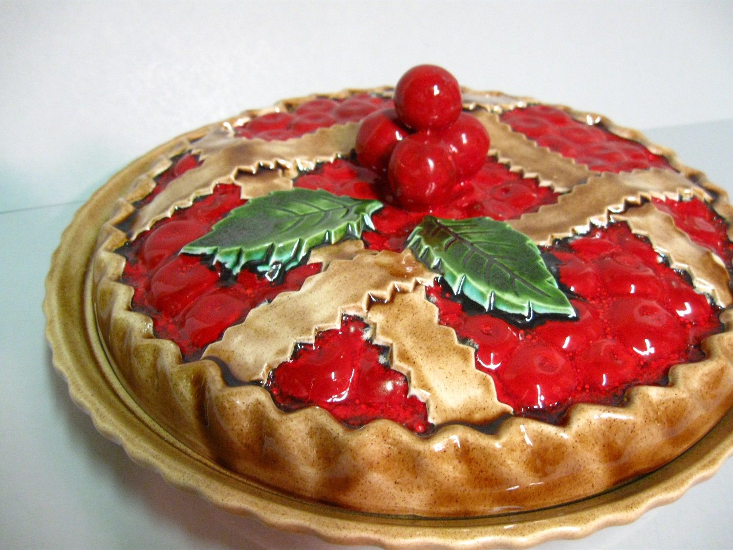 Ceramic Cherry Pie Plate And Cover Hand Painted By Stephied