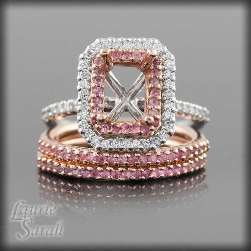 Pink Sapphire and Diamond Semi Mount Engagement Ring with Two Matching Pink