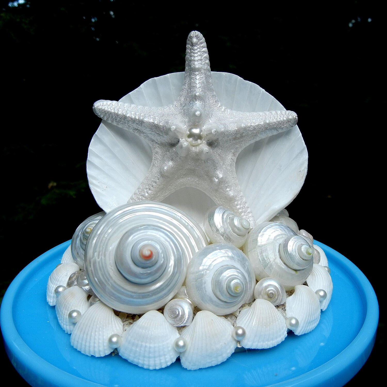 items similar to seashell starfish wedding cake topper pearly waves on etsy. Black Bedroom Furniture Sets. Home Design Ideas