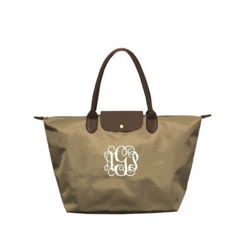 Monogrammed/Personalized Tan & Brown Champ Tote Bag