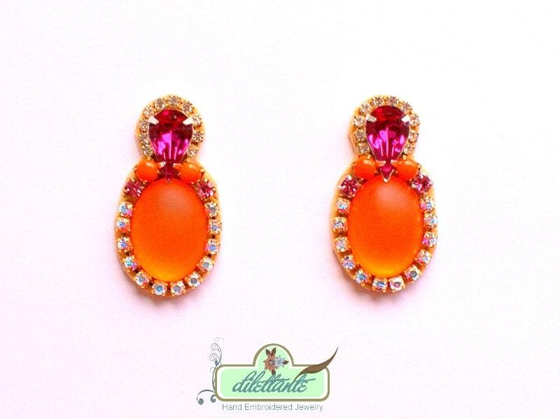 Swarovski- Rhinestones Earrings- Neon Rhinestone Earrings- Statement Earrings- Neon bubble Earrings - DILETTANTEsoutache