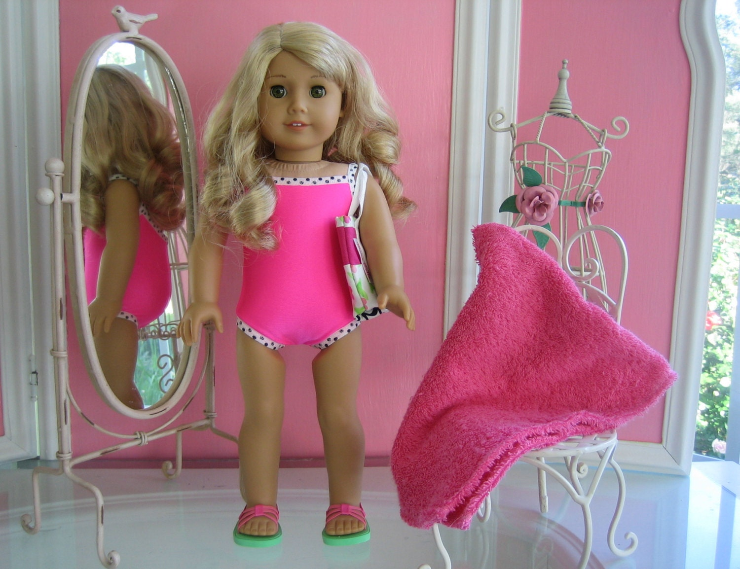 Swimsuit, towel, bag and sandals made to fit 18 inch American Girl doll