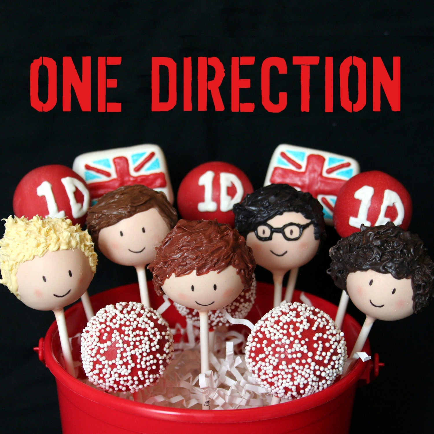 12 One Direction British Boy Band Cake Pops for birthday, party
