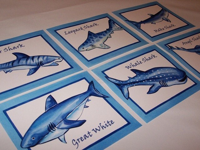 Shark Fish Sea Life Art Prints For Ocean Boy Bathroom Bedroom Set Of 6 Prints
