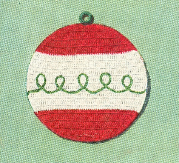 Free Crochet Patterns Christmas Potholders : Items similar to Vintage 1950s Christmas Ornament ...