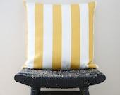 Yellow White Stripes Cotton Pillow Cover, Cushion 45 x 45 cm - bestillshop