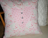 Shabby Chic pillow cushion - pink floral and polka dot cotton lawn heart