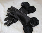 Antique or Vintage Pair of Black Ladies Womans Gloves Very Old - Leather Size 7