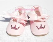 Baby Bling PINK PRINCESS TIARA Baby Ballet Shoes Crystal Bling 0 to 6 Months