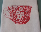 Tea Cup - Red Raspberry on Natural Flour Sack Dish Towel