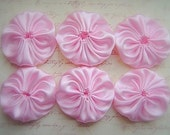 6 pcs, Silk Satin Appliques 2 inches PINK