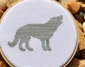 Wolf Silhouette Counted Cross Stitch Pattern PDF, Pick your own colors