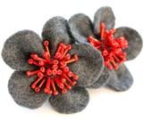 evil felt hand beaded red flower barrette hair clip