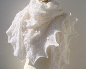 MADE TO ORDER Snow Queen  hand knitted triangle shawl