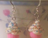 Pink Polymer Clay Cupcake Earrings