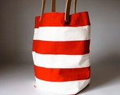 Striped Tokyo Tote - Red and White Horizontal Wide Stripe  - Natural Leather Straps MADE TO ORDER