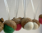 Candy Cane Ornaments, Acorn Christmas Tree Decorations, Needle Felted, Set of 12 Hanging Felted Acorns