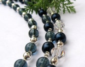 Midnight Blue Glass Crystal Triple Stranded Necklace