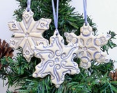 Christmas Ornament Ceramic Holiday Snowflake Ornaments Set of Three Blue and White Holiday Cheer