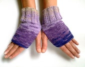 Pink Purple Wool Fingerless Mittens