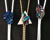 Triangle Rainbow Titanium Aura Crystal cluster Bolo