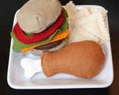 Felt Food Lunch or Dinner with a hamburger, chicken leg, and ravioli