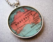 Australian Vintage Map Necklace