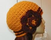 Kitt Chunky Flapper Cloche in Butterscotch and Wine - Hand Crocheted - Wool Blend