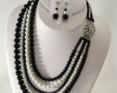 Black Tie Necklace and Earrings Set 5 Strands of Pearls in black and white glass pearls perfect for the Mother of the Bride