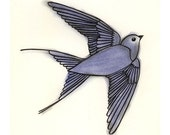 Bird art - The Blue Bird of Happiness - print
