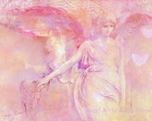 "Angel Art Photography - Surreal Angel Art, Pink Angel Decor, Ethereal Art, Pink, Yellow, Surreal Angel Art - Fine Art Photography 5"" x 7"""