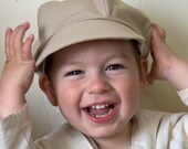 Organic Newsboy Cap for Kids in Tan, Casquette Gavroche Bio Enfant Sable, Children gift unde 50