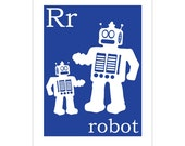 R is for Robot 8x10 print by Finny and Zook