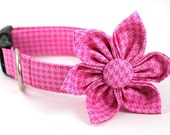 Classic Houndstooth in Pink.....Dog Collar and Flower Set.....Made to Order
