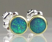 Australian Boulder Opal Earrings - 18k Gold and Sterling