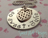 GIRLS Silver Strawberry Charm Necklace So Sweet with Personalized Name