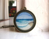 Beach Ocean Painting - Waves on the Seashore Round Original Watercolor Hand Painted Necklace Pendant - HeatherKent