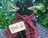 Black Attack Cat Primitive Folk Art Kitty Shelf Sitter Doll