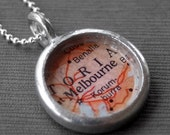 Melbourne Australia - Pendant Necklace Jewelry Vintage Map - Makes a Wonderful Bridesmaid Gift