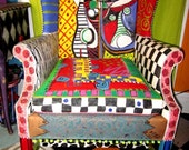 Hand painted, Picasso, Wing chair, painted furniture, recycled, eco friendly
