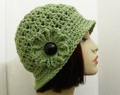 Pretty Cloche in Sage Green with Flower - Hand Crocheted